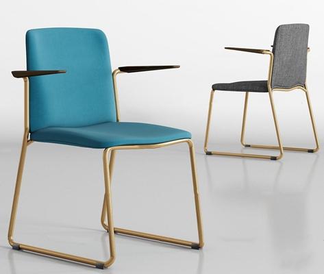 现代金属布艺单椅组合3D模型【ID:219704488】