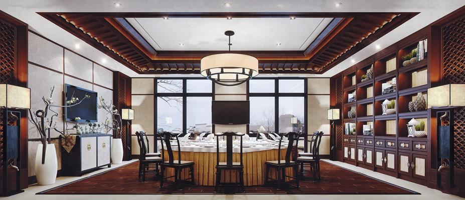 新中式餐厅包间3D模型【ID:27247957】