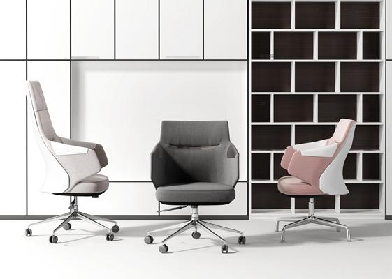 现代布艺办公椅组合3D模型【ID:27248595】