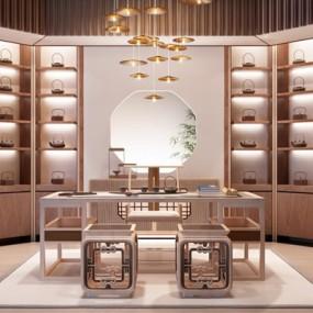 新中式书房茶室3D模型【ID:127844990】