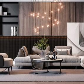 现代沙发茶几组合3D模型【ID:636238722】
