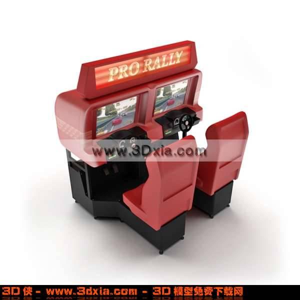 3D漂亮的红色双人街机模型下载3D模型【ID:2768】