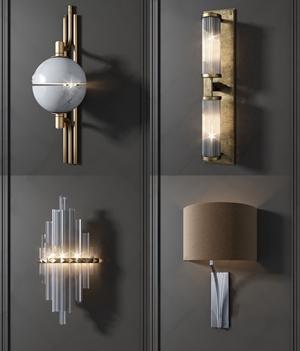 現代壁燈組合3D模型【ID:528292971】
