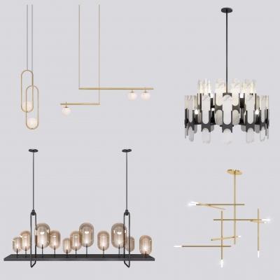现代金属吊灯组合3D模型【ID:527801810】