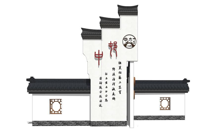中式徽派景墙SU模型【ID:736355067】