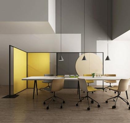 现代会议桌椅3D模型【ID:224895371】