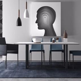 现代简约餐桌椅组合3d模型【ID:328246478】