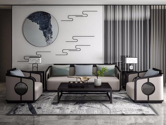 新中式沙发组合 新中式组合沙发 茶几 台灯 壁挂 挂画 单人沙发 摆件饰品