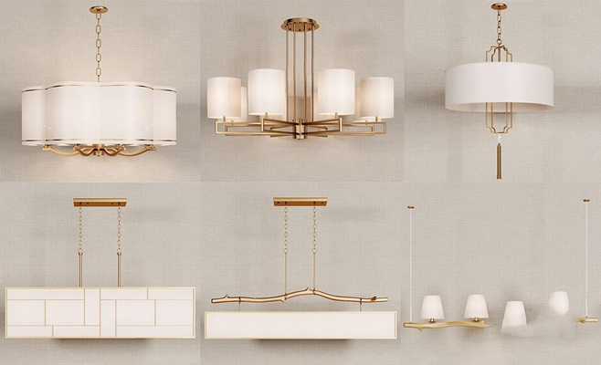 新中式金屬吊燈組合3D模型【ID:528035831】
