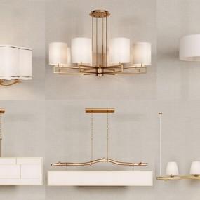 新中式金属吊灯组合3D模型【ID:528035831】