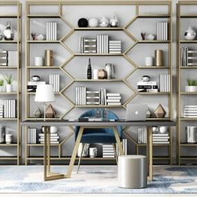 新中式装饰柜书桌椅组合3D模型【ID:128400958】