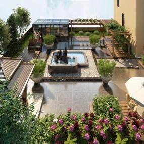 屋顶花园3D模型【ID:828324413】
