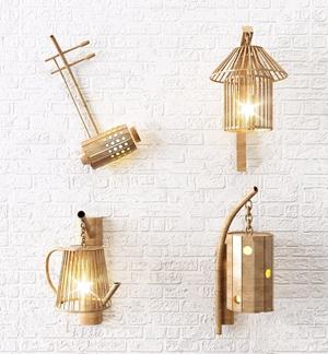新中式创意壁灯3D模型【ID:528289969】