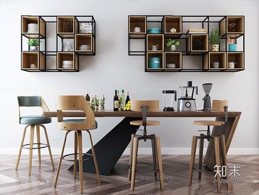 北欧吧台椅3D模型【ID:628046387】
