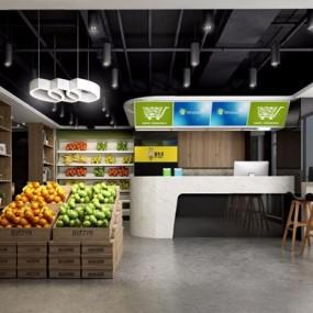 现代蔬菜水果店3D模型【ID:628053380】