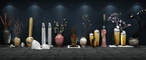 中式植物干支花卉摆件组合3D模型【ID:327786855】