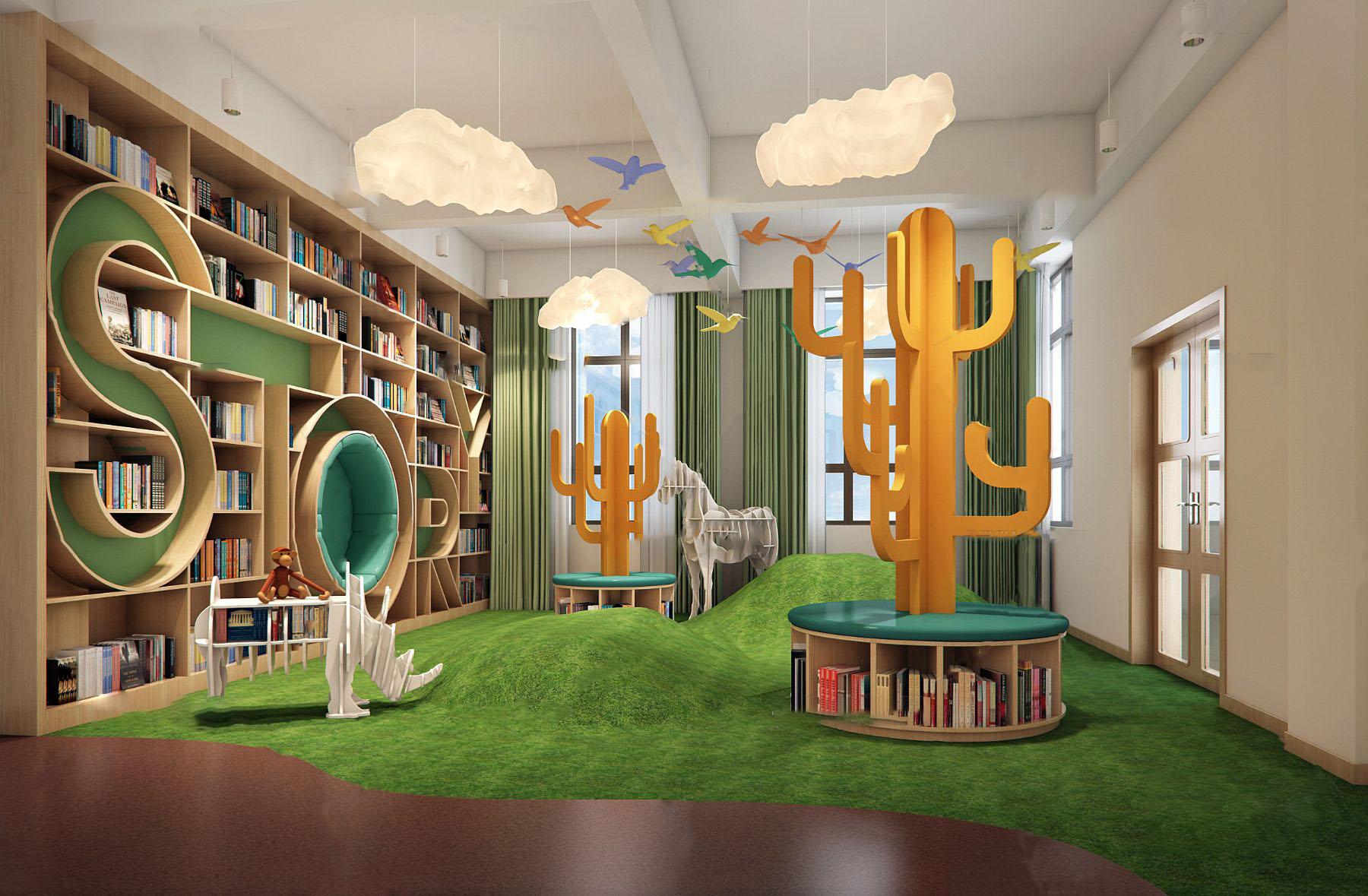 现代幼儿园绘本室3D模型【ID:943092669】
