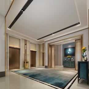 现代酒店大厅电梯间3D模型【ID:627804268】