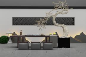 新中式泡茶桌椅植物盆栽組合3D模型【ID:327787609】