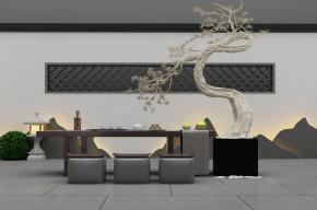 新中式泡茶桌椅植物盆栽组合3D模型【ID:327787609】