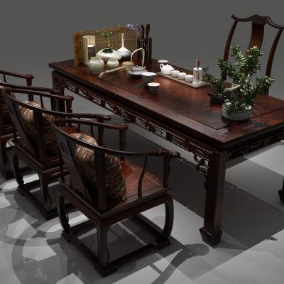 新中式桌椅書桌茶幾擺件組合3D模型【ID:327793641】