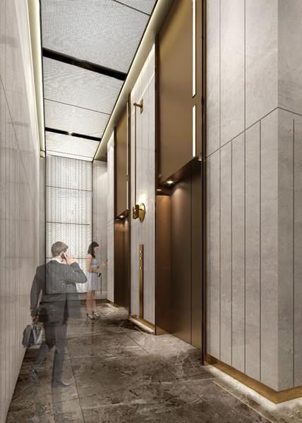 現代大堂入口電梯廳3D模型【ID:946659559】