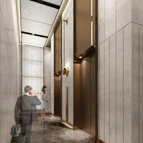 现代大堂入口电梯厅3d模型【ID:946659559】