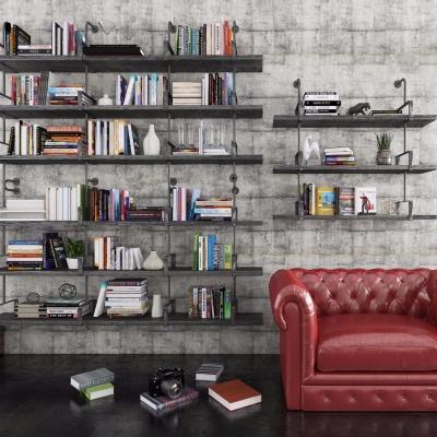 工业风书架书籍沙发吊灯吊篮组合3D模型【ID:927837547】