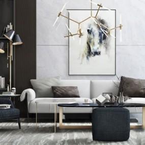 现代沙发茶几组合3D模型【ID:641979735】