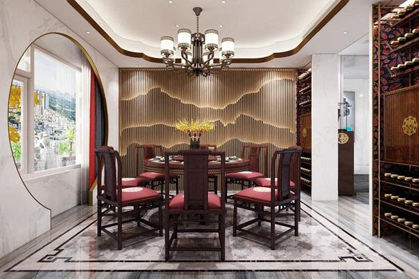 中式餐厅3D模型【ID:828147554】