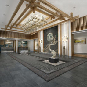 新中式民宿酒店前台大堂365彩票【ID:927819577】