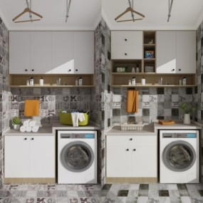 现代洗衣机装饰柜摆件组合3D模型【ID:127762583】