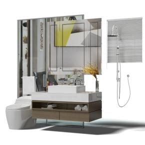 现代洗手台马桶镜子组合3D模型【ID:927824436】