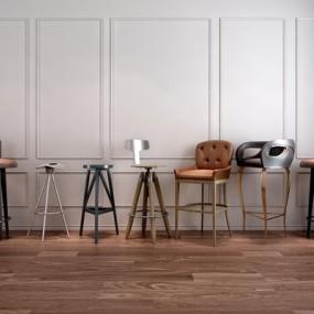 LOFT工业风吧椅组合3D模型【ID:327898113】