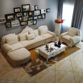 欧式沙发茶几组合3D模型【ID:327900355】