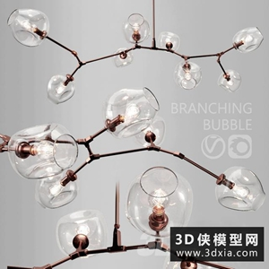 现代金属吊灯国外3D模型【ID:829325728】