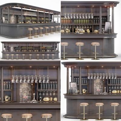 工业风吧台吧椅酒水酒杯调酒器组合3D模型【ID:627806306】