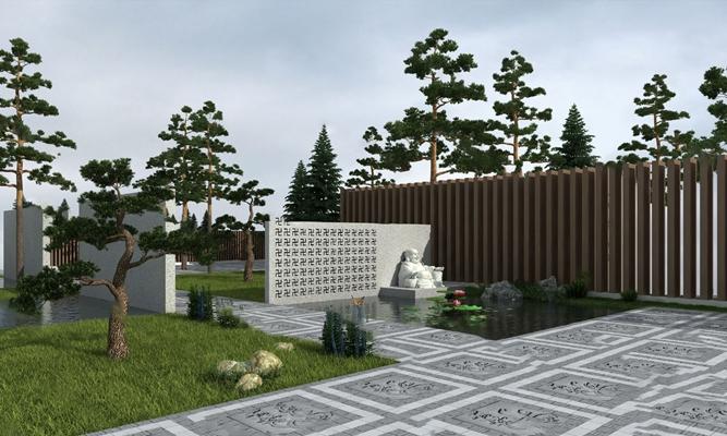 现代园林景观3D模型【ID:824880479】