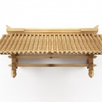新中式門頭屋檐建筑構件3D模型【ID:727811878】