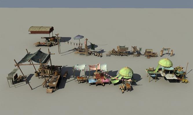 中式摊位3D模型【ID:526235937】