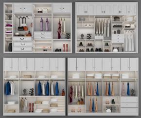 現代實木衣柜擺件組合3D模型【ID:927818935】