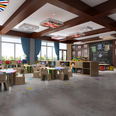 現代幼兒園教室3D模型【ID:527766874】