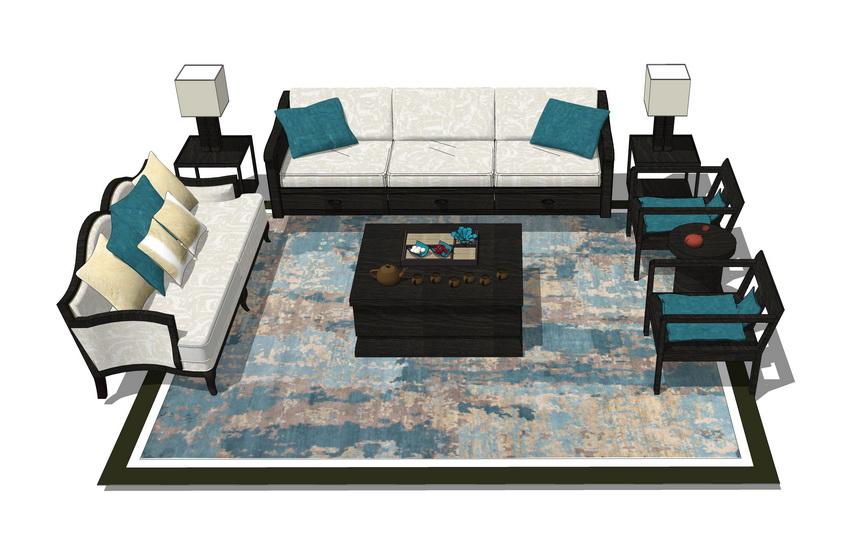 中式客厅沙发茶几组合SU模型【ID:436357140】