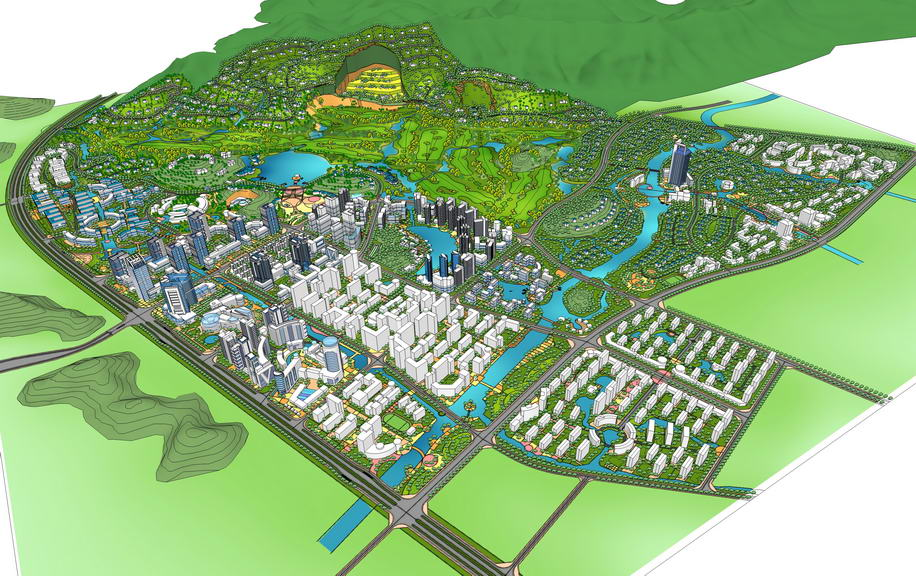 城市規劃SU模型【ID:336357143】