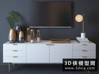 现代电视柜组合国外3D模型【ID:829414077】