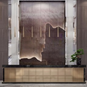 新中式售楼前台接待台吊灯组合3D模型【ID:727812761】