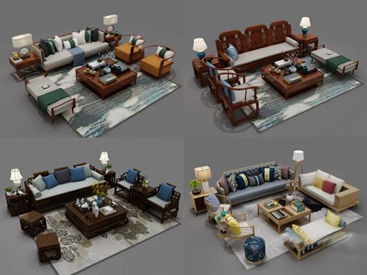 新中式沙发茶几组合3D模型【ID:626222018】