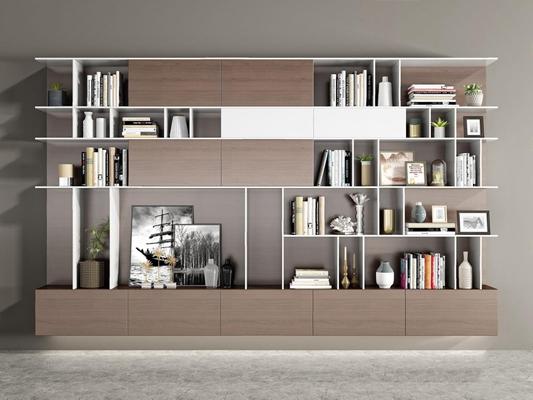 现代书柜装饰品组合3D模型【ID:928203548】