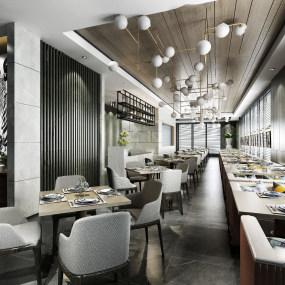 現代西餐廳3d模型【ID:643348289】