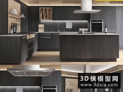 现代厨柜国外3D模型【ID:829361059】